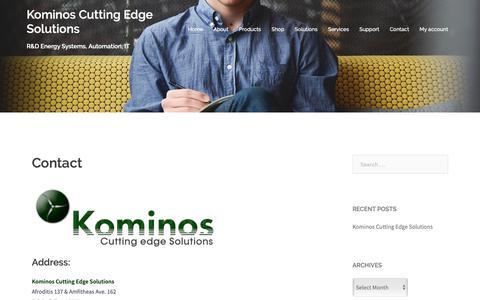 Screenshot of Contact Page kominos.com - Contact | Kominos Cutting Edge Solutions - captured Oct. 16, 2018