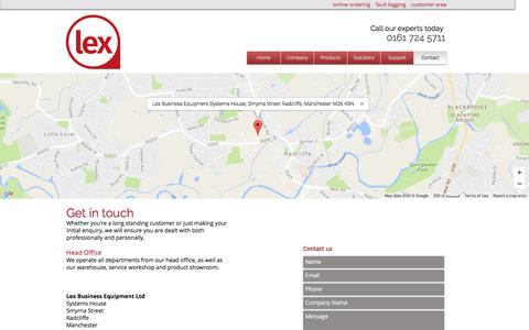 Screenshot of Contact Page lexbusiness.co.uk - Lex Business Equipment | Photocopiers Manchester | Contact - captured Nov. 6, 2016