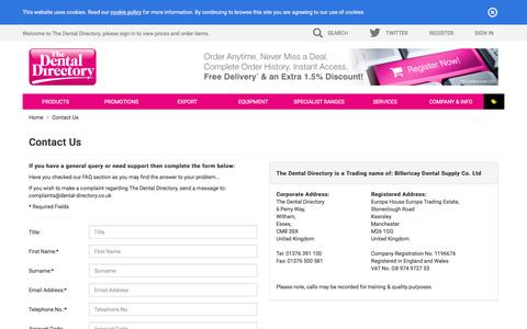 Screenshot of Contact Page dental-directory.co.uk - The Dental Directory : Contact Us - captured Nov. 30, 2016