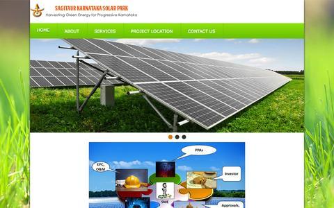 Screenshot of Home Page karnatakasolarparks.com - Sagitaur Karnataka Solar Park - captured Oct. 6, 2014