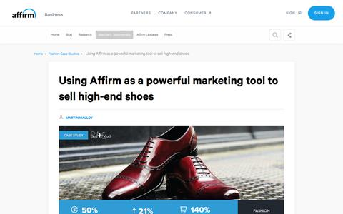 Screenshot of Case Studies Page affirm.com - Using Affirm as a powerful marketing tool to for Paul Evans shoes - captured Dec. 4, 2019