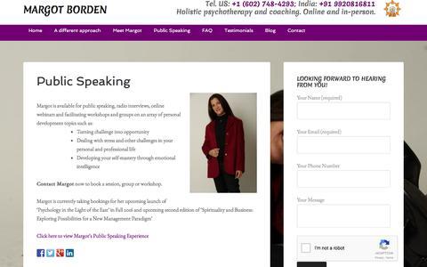 Screenshot of margotborden.com - Public Speaking - Margot Borden - captured March 18, 2016