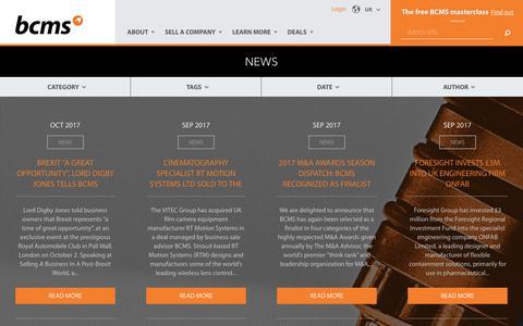 Screenshot of Press Page bcms.com - News | UK - captured Oct. 9, 2017