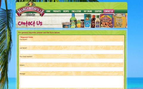 Screenshot of Support Page margaritavillefoods.com - Margaritaville Foods :: Contact Us | How to Contact Margaritaville Foods - captured Oct. 30, 2014