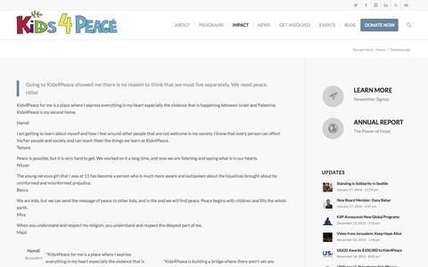 Screenshot of Testimonials Page k4p.org - Kids4Peace     Testimonials - captured Feb. 12, 2016