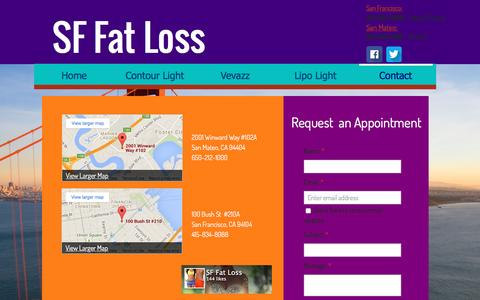 Screenshot of Contact Page sffatloss.com - Contact SF Fat Loss | Body Contouring & Weight Loss Treatments in San Francisco & San Mateo - captured Dec. 19, 2015