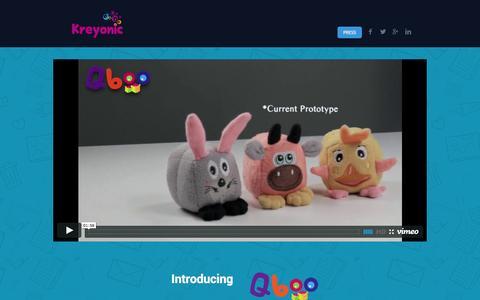 Screenshot of Home Page kreyonic.com - Kreyonic - Smart Plush Toys for Kids - captured Sept. 16, 2014