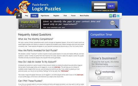Screenshot of FAQ Page logic-puzzles.org - Logic Puzzles - Frequently Asked Questions - captured Oct. 30, 2014