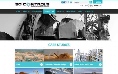 Screenshot of Case Studies Page sgcontrols.com.au - Case Studies | SG Controls - captured Oct. 3, 2014
