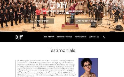 Screenshot of Testimonials Page dciny.org - DCINYTestimonials - DCINY - captured Oct. 26, 2017