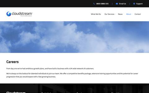Screenshot of Jobs Page virtuousit.co.uk - Careers | Cloudstream Technology - captured Dec. 21, 2018