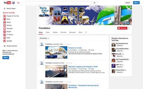 Screenshot of YouTube Page youtube.com - TransNatur  - YouTube - captured Nov. 5, 2014