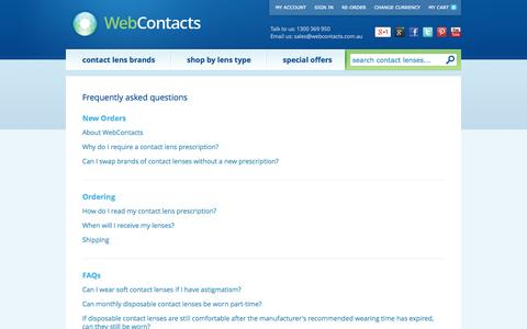 Screenshot of FAQ Page webcontacts.com.au - Frequently asked questions - captured Oct. 26, 2014
