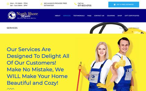 Screenshot of Services Page northshoremaids.com - Services – Welcome To North Shore Maids Of Massachusetts! - captured Dec. 11, 2018