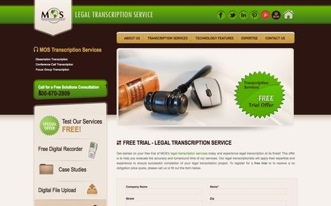 Screenshot of Trial Page legaltranscriptionservice.com - Legal Transcription Free Trial   Legal Transcription Services - captured Sept. 19, 2014