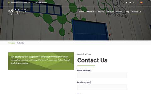 Screenshot of Contact Page greenseabiosystem.com - Contact Us - Green Sea Bio System One - captured Sept. 26, 2018