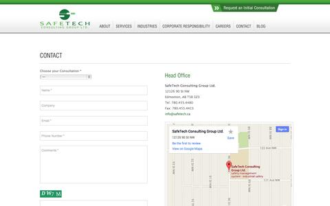 Screenshot of Contact Page safetech.ca - On-site Safety Advisors Edmonton, Alberta | Contact SafeTech - captured Oct. 3, 2014
