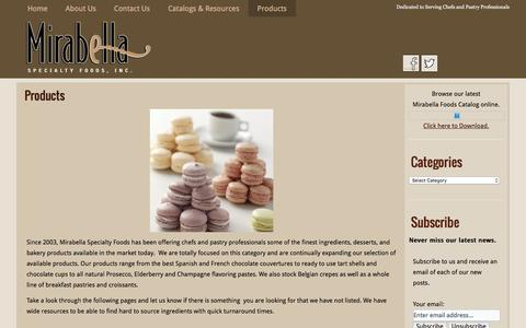 Screenshot of Products Page mirabellafoods.com - Products | Mirabella Specialty Foods - captured Feb. 16, 2016
