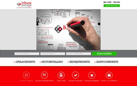 Screenshot of Home Page inboxstorage.nl - Inbox Storage | Opslagruimte, Garagebox, Bedrijfsruimte & Kantoor - captured Sept. 30, 2014