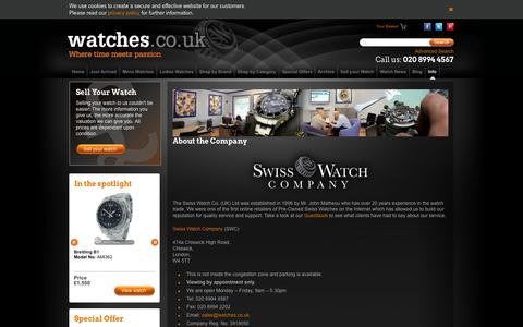 Screenshot of About Page watches.co.uk - About the Swiss Watch Company   Watches.co.uk - captured Oct. 31, 2014