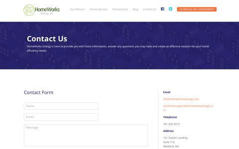 Screenshot of Contact Page homeworksenergy.com - Contact Us   Homeworks Energy - captured July 22, 2018