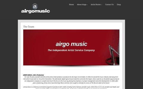 Screenshot of Team Page airgomusic.com - The Team - Airgo Music - captured Oct. 4, 2014