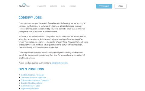 Screenshot of Jobs Page codenvy.com - Jobs | Codenvy - captured July 20, 2014