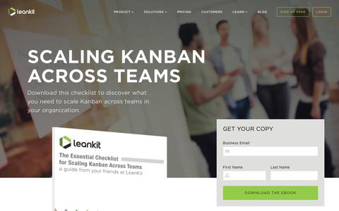 Screenshot of Landing Page leankit.com - The Essential Checklist for Scaling Kanban Across Teams | LeanKit - captured April 30, 2016