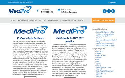 Screenshot of Blog medipro.com - MediPro - Lytec EMR, CureMD Medical Practice Software - captured Nov. 16, 2019