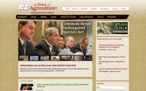 Screenshot of Home Page fb.org - The Voice of Agriculture - American Farm Bureau - captured Sept. 18, 2014