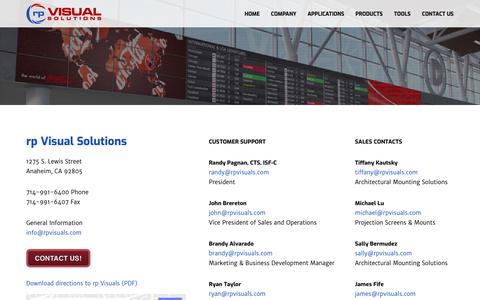 Screenshot of Contact Page rpvisuals.com - rp Visual Solutions - Contact Us - captured Oct. 19, 2018