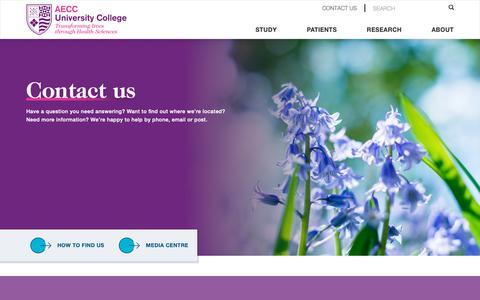 Screenshot of Contact Page aecc.ac.uk - Contact Us | AECC University College Bournemouth | AECC University College | Transforming lives through Health Sciences - captured Nov. 6, 2018