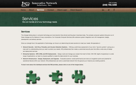 Screenshot of Services Page inetworksolutions.net - Services | Innovative Network Solutions - captured Oct. 6, 2014