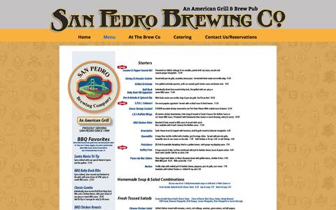 Screenshot of Menu Page sanpedrobrewing.com - San Pedro Brewing Company-Menu | San Pedro Brewing Company - captured April 13, 2016