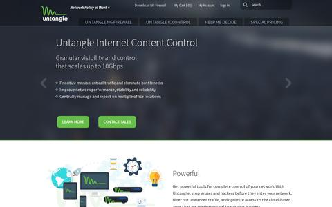 Screenshot of Home Page untangle.com - Untangle: Network Policy at Work - captured July 11, 2014