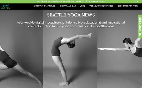 Screenshot of Home Page seattleyoganews.com - Seattle Yoga News: The Digital Hub for Yoga Seattle - captured Sept. 30, 2014