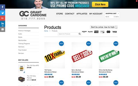 Screenshot of Products Page grantcardone.com - Products Archive - Grant Cardone - Sales Training - captured Oct. 21, 2016