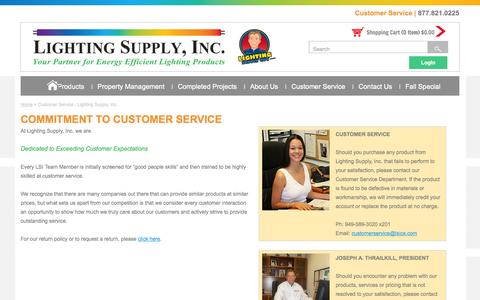 Screenshot of Support Page lightingsupplyguy.com - Customer Service - Lighting Supply, Inc. - captured Oct. 2, 2014