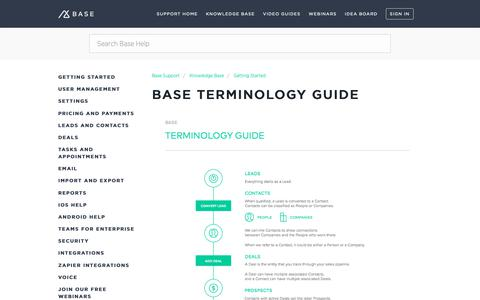 Screenshot of Support Page getbase.com - Base Terminology Guide – Base Support - captured Oct. 9, 2018