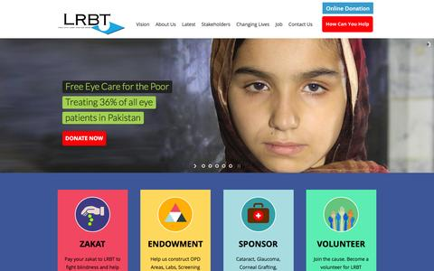 Screenshot of Home Page lrbt.org.pk - LRBT   Free Eye Care for Poor in Pakistan. Support LRBT with Your Donations and Zakat - captured Jan. 15, 2016