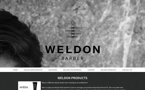 Screenshot of Products Page weldonbarber.com - Weldon Products - captured Oct. 26, 2014