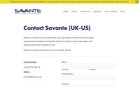 Screenshot of About Page savante.co.uk - SAVANTE - Savante Subsea and Underwater Lasers:  3D Dynamic Laser Mapping and Stereo-Imaging - captured Nov. 12, 2018