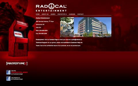 Screenshot of Contact Page radical.ca - Radical - Contact - captured Oct. 9, 2014
