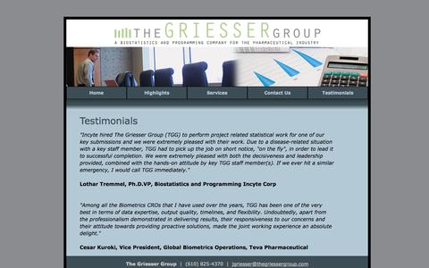 Screenshot of Testimonials Page thegriessergroup.com - Testimonials | The Griesser Group - captured Oct. 7, 2014