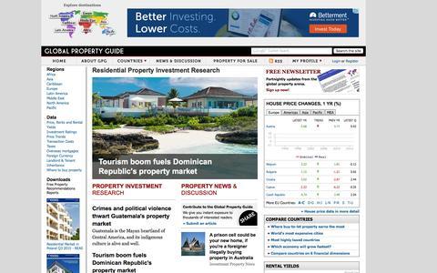 Screenshot of Home Page globalpropertyguide.com - Global Property Guide - captured Dec. 10, 2015