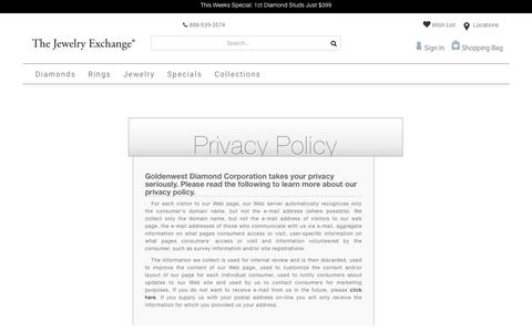 Screenshot of Privacy Page jewelryexchange.com - Privacy Policy - captured Aug. 16, 2018