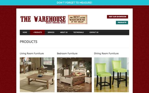 Screenshot of Products Page thewarehousefurniture.com - Furniture Palm Desert   Furniture Palm Springs   GALLERY - captured Oct. 9, 2014