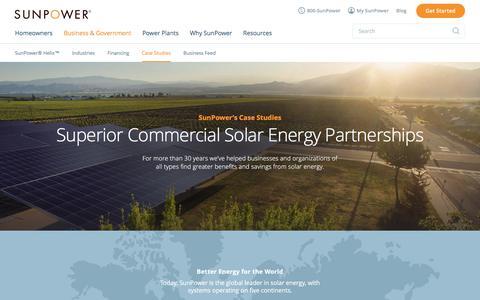Screenshot of Case Studies Page sunpower.com - Commercial Solar Case Studies & Customer Reviews   SunPower - captured June 12, 2017