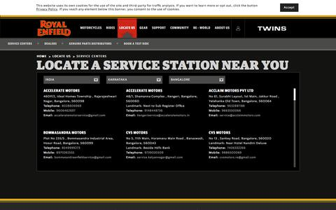 Screenshot of Services Page royalenfield.com - Locate a Service Center Near You - Royalenfield.com - captured July 22, 2018