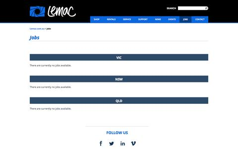 Screenshot of Jobs Page lemac.com.au - Jobs - captured Oct. 1, 2015